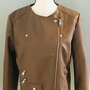 Women's Mango Taupe Faux Leather Jacket